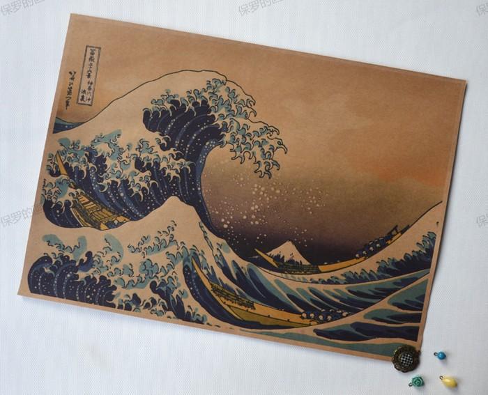 Japão ukiyo oceano onda do Vintage pendurado parede sem moldura Kraft pinturas / cartazes para / café decoração(China (Mainland))