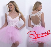 RBC 778 Hot Sexy See Though Back Party Dresses New Short Mini Ball Gown Evening Dress Appliques Crystal Prom Gowns