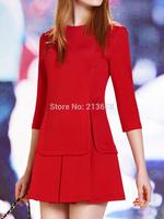 3 Colors Plain Yellow/Red/White Plus Size Women Three Quarter Sleeves Shift Mini Casual Dress S M L XL XXL 2014 Autumn New