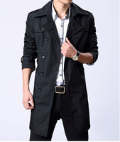 Fashion long trench coat men China imported clothes  Slim Long Overcoat  Busniess Man Cotton Coats With Belt