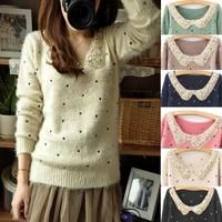 2014 Small fresh paillette collar mohair dot polka dot explaines long-sleeve sweater