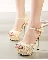 free shipping,2014 club sexy open toe lace sandals,thin high heels platform fashion shoes,lady shoes,2 colors