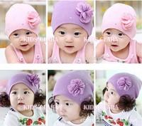 2014 New baby hat flowers wool pullover hat children cotton hat baby girls cap