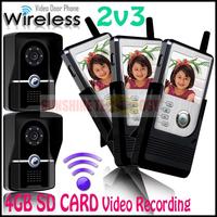 SD card Video Recording Handset Color LCD Wireless Video Door Phone Doorbell Intercom System Home Security Entry Intercom 2v3