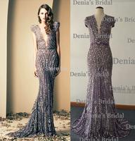 High Quality Deep V Neckline Sheath beading Vestidos Ziad Nakad Modest Evening Dresses 2014