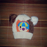 Free Shipping 2014 autumn and winter children's cartoon Dog Knitted warm ear baby hat knitted hat boy hat