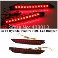 Car Elantra Red Lens LED Rear Bumper Reflectors 08-10 Hyundai Elantra HDC Rear Brake Tail Parking Warning Light Lamp