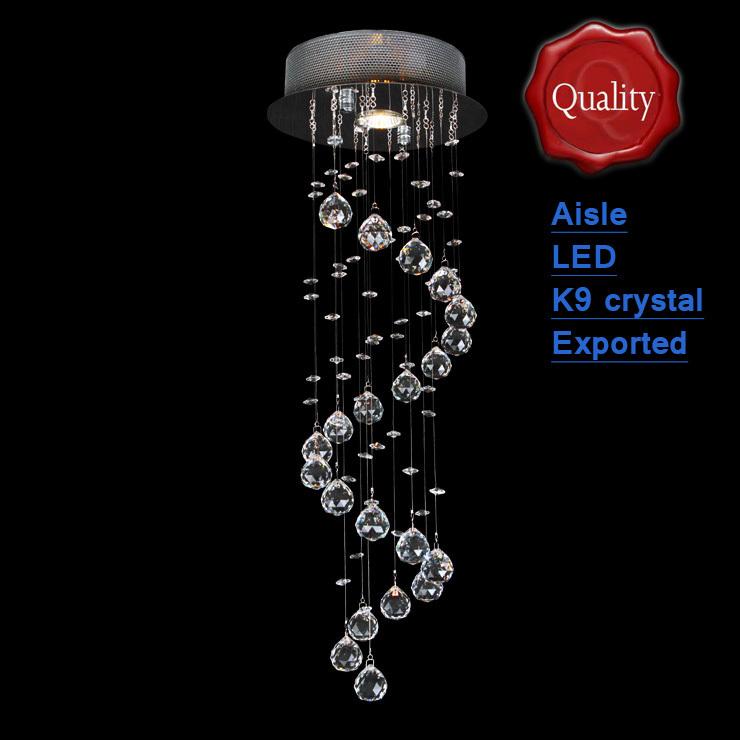 Candelabro de cristal K9 espiral grátis frete + lâmpada led de poupança pequena breve canto grosso base durável do fio de aço do corredor Bar Modern(China (Mainland))