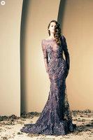 Free Shipping Scoop Purple Tulle Mermaid Beaded Ziad Nakad Mermaid Evening Dresses Shop