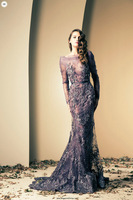 Free Shipping Scoop Purple Tulle Mermaid Beaded Ziad Nakad Mermaid Evening Dresses Shop