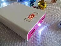 100pcs portable dual usb power bank LED flashlight external battery charger 12000mAh lcd display screen powerbank+retail package