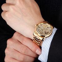 New Famous Brand Winner Luxury Fashion Casual Stainless Steel Men Mechanical Watch Skeleton Watch For Men Dress Wristwatch