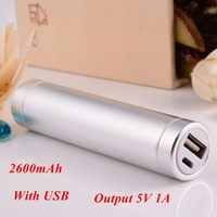 1pc Power Bank 2600mah Aluminium Output 5V 1A Including 1* USB Cable for Samsung for iphone for Smartphone