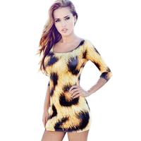2014 Summer New Leopard Low-cut Strapless O-neck Sexy Skinny Mini Dress Free Shipping S M L XL 2XL 3XL 4XL13917