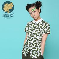 Children double collar short-sleeve shirt cucumber print myvatn mustard original design female