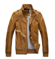 free shipping Men's Stand Collar Leather Jacket Autumn Motorcyle Coat Clothes S-XXL