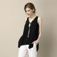Free shipping 2014 new Europe and America brand Women chiffon sleeveless shirt shorts blouse