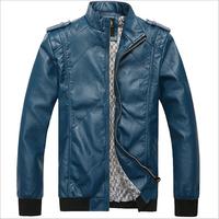 free shipping 2014 New style men Slim-fitting leather jacket genuine leather men jacket coat men motorcycle leather jacket M-XXL