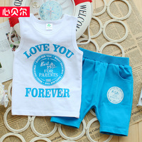 100%  cotton vest child letter vest and shorts twinset