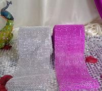 """Wedding Decoration Silver 10 Yards Diamond Mesh Wrap Roll Sparkle Rhinestone Crystal Looking Ribbon  (30feet) 4.6"""" wide"""