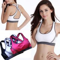 2015 New Women Sexy Racerback Stretch Yoga Athletic Sports Bras Crop Bra Tops Padded