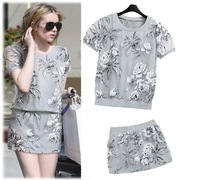 2014Summer New Arrival Fashion Sport Suits Organza print Casual Hoodies Short-Sleeve Pullover Sweater +Skirts Set Free Shipping