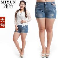 Plus Size Hole Blue Denim Shorts Hot Pants For Plump Women Relaxed Elastic Short Jeans Chinese Folk Style Summer 2014 Latest