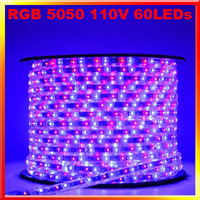 110V high voltage RGB 5050 60led 14.4W/m flexible strip string light waterproof IP66 5m/lot