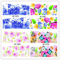 XF1372-1391 20sheets Flowers Water Transfers Nail Stickers Decals  Nail Tips Wraps DIY Beauty Decorations Supplies Tools