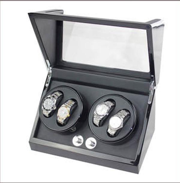 Luxury Mute Motor Watch Winder Self-winding Wood Box For Automatic Mechanical Watch for 4 Watch(China (Mainland))
