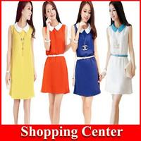New 2014 Summer women peter pan collar chiffon Dress Sleeveless dress with belt hot sale dropshipping