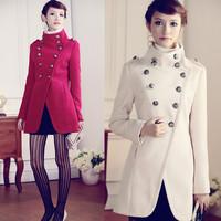 women long coat, autumn new European style retro double breasted woolen fashion winter coat, free shipping, L0755