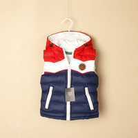 autumn children's clothing boy 's child with a hood color block decoration cotton vest child baby casual wadded jacket