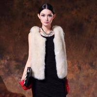 new 2014 free shipping  Artificial fur autumn and winter female fur rabbit fur vest design short fur vest fashion vest