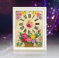 5D DIY diamond Painting crystal clock flower 3D Cross Stitch Decorative Needlework embroidery Round Rhinestone 40x32 cm