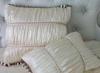 #895  new cream faux silk folding lace tassels cushion pillow case cover car sofa bedding case wholesale