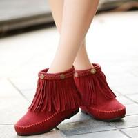 [BOOT078] Wholesale women's boots winter  flat  tassel boots increased melting in bigger sizes female shih velvet short boots