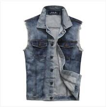 2014 new fashion men's sleeveless denim vest men's wild Slim denim jacket denim vest(China (Mainland))