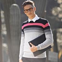 Men's pullovers Fashioin Autumn sweaters O-Neck 100% Cotton Casual Free shipping Stripe design.Gary black New 2014
