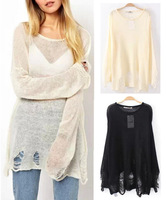 2014 New Summer Women's Loose Hole Sweater Hollow out Asymetric Hem Loose Knitted Crew neck Long Sleeve Thin Sweater Tops