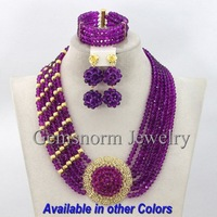 Splendid Purple African Costume Bridal Jewelry Set Nigerian Wedding Beads Fashion Jewelry Set Free shipping GS297