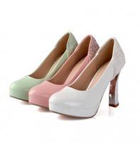 2014 Spring Autumn Korean Fashion Basic Glitter Women High Heels Ladies Platform Pumps Plus Size LX10161