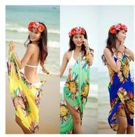 FREE SHIPPING 2014 New summer Women saia sexy dresses Deep V Wrap Chiffon Swimwear Bikini Cover Up Sarong brand sexy Beach Dress