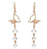 Natural Moonstone Drop Earings 925 Sterling Silver Rose Gold Plating Fashion 2014 Free Shipping