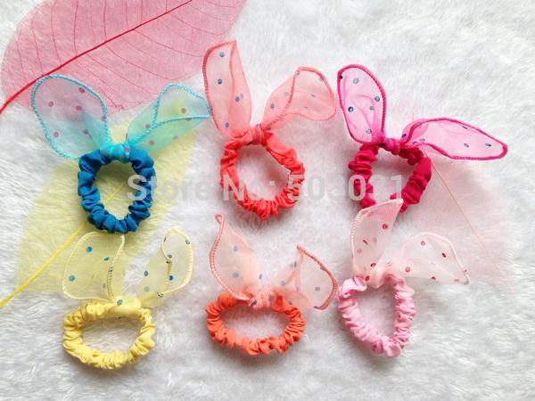 10Pcs/Lot Mix Style 2014 Fashion Baby kids girls Hair band Polka dot Mesh hair rope Rabbit Ears scrunchy Hair tie hair accessory(China (Mainland))