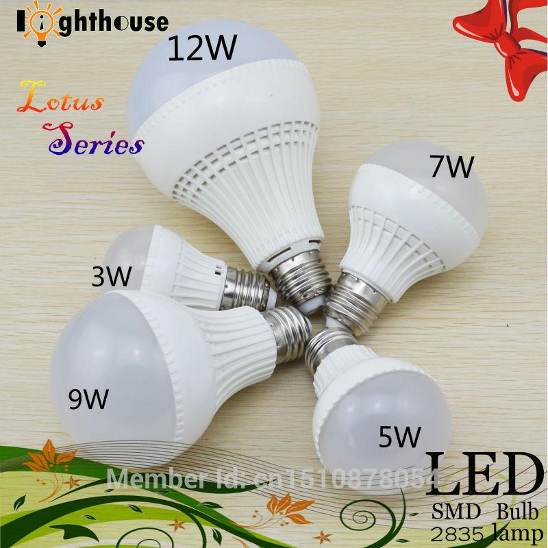 1pcs LED E27 Led Bulb real 3W 5W 7W 9W 12W LED Lamp 220V 240V SMD2835 Quality Assurance High brightness LED Light brand lamps(China (Mainland))