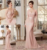 Extravagant 2015 Amazing Long Sleeve Prom Dresses Ribbons Empire Waist Floor Length Beading Zipper Back Long Mother Bride Dress