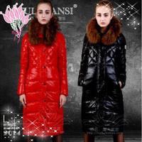 Free shipping!2014 winter large raccoon fur with  down jacket medium long female slim down jacket