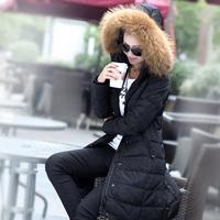 Free shipping!2014Raccoon fur collar  long down jacket women's slim fashion  down jacket