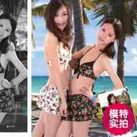 Genuine hot spring bathing suit female fashion gathered a slim threepiece sexy swimsuit bikini Size l XL 3 Color